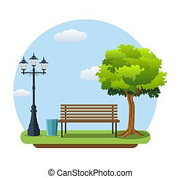 Bench with tree and lantern in the Park.