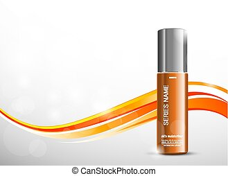 Skin moisturizer cosmetic ads template with orange realistic...