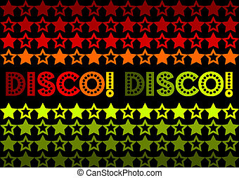 Disco! Disco! - 70s Retro design featuring stars and text...