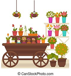 Wagon with flower pots - Vector illustration of different...