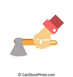 Hand with axe - Vector illustration of the hand of...