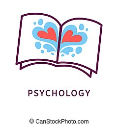 Blotted book and psychology word - Vector illustration of...
