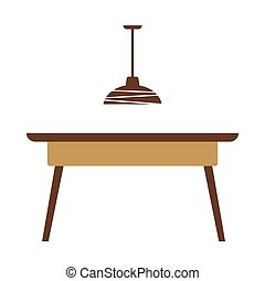 Wooden table with lamp