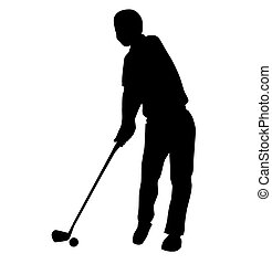 silhouette of Golf swing front view - Vector Illustration