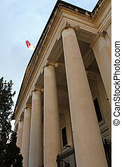 Malta Law Courts with the Maltese flag