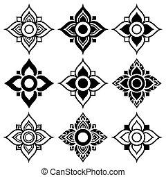 Thai folk art pattern - flower shape - Vector Thai...