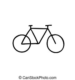 Sketch of a silhouette of a bicycle on a white background.