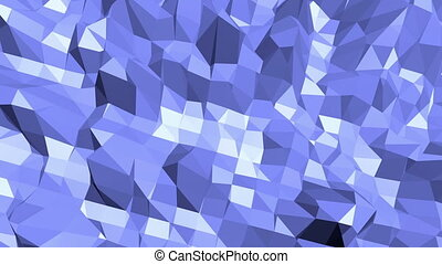 Blue low poly deforming surface as gorgeous background. Blue polygonal geometric deforming environment or pulsating background in cartoon low poly popular modern stylish 3D design.