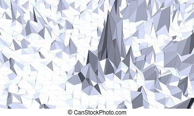 Blue low poly deforming surface as CG background. Blue polygonal geometric deforming environment or pulsating background in cartoon low poly popular modern stylish 3D design.