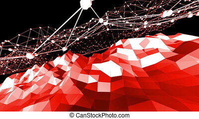 Abstract waving red low poly surface as magnificent...