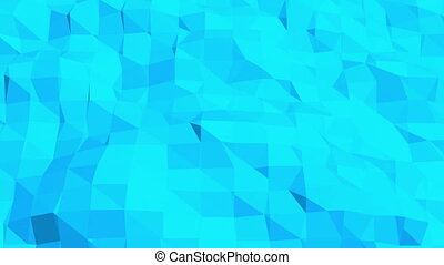Blue low poly deforming surface as complexity background....