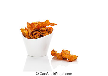 Batata chips in white cup. - Batata chips in white cup...