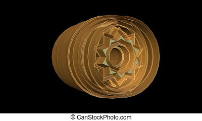 3d semitransparent object with starshape rotating, orange element on black background, fantasy art video