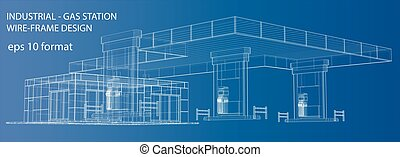 Gas Station. Wire frame vector illustration. 3d rendering