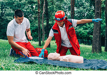 Cpr practice on cpr dummy