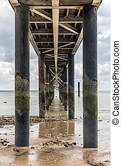 Under the jetty of La Tranche-sur-Mer at low tide (Vendee,...