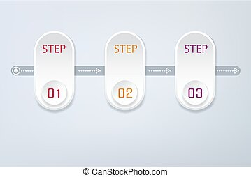 Vector abstract element for business. Strategy in stages. Steps of development, teamwork. Business concept illustrated in three stages, parts, steps. Graph, diagram, presentation
