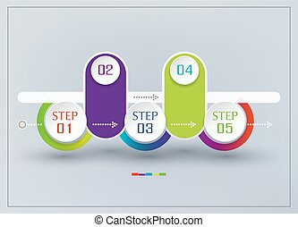 Vector abstract element for business. Strategy in stages. Steps of development, teamwork. Business concept illustrated in five stages, parts, steps. Graph, diagram, presentation