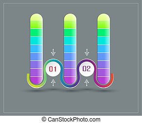Vector abstract element for business. Strategy in stages. Steps of development, teamwork. Business concept illustrated in two stages, parts, steps. Graph, diagram, presentation