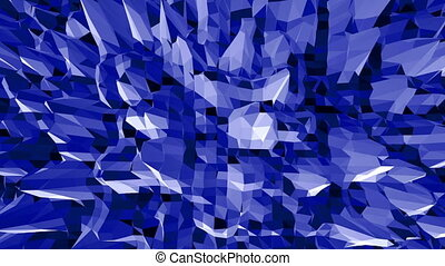 Blue low poly vibrating surface as game backdrop. Blue...