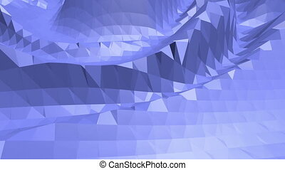Blue low poly transforming surface as cartoon background. Blue polygonal geometric transforming environment or pulsating background in cartoon low poly popular modern stylish 3D design..