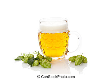Beer with hop fruit isolated. - Glass of beer with hop fruit...