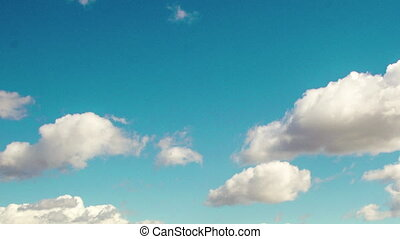 Time lapse daytime sky with fluffy clouds, Looping video