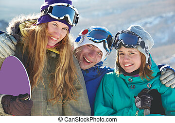 Happy teens - Portrait of happy company of guy and girls in...