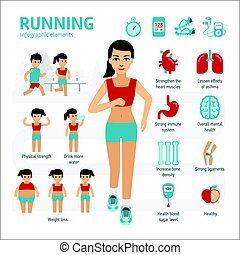 Running and health infographic elements with icons set of...