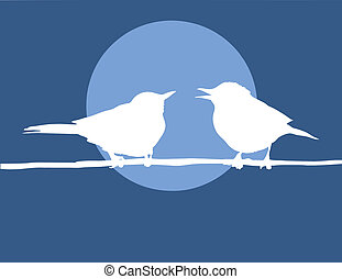 silhouette two birds on background sun
