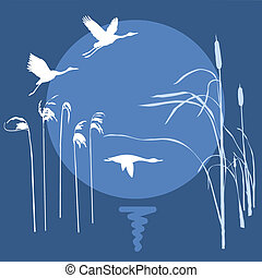 vector drawing flying birds on background sun