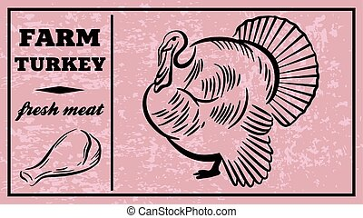 Label of meat products. Turkey. Poultry meat - Label of meat...