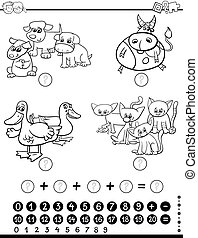 mathematical game coloring page - Black and White Cartoon...