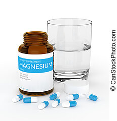 3d render of magnesium pills in bottle with water