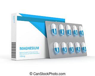 3d render of magnesium pills on blister over white - 3d...
