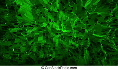 Dark green low poly waving surface as sci-fi landscape. Dark green polygonal geometric vibrating environment or pulsating background in cartoon low poly popular modern stylish 3D design..