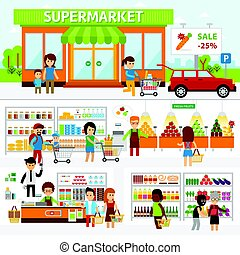 Supermarket infographic elements. Flat vector design...