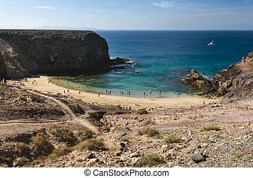 Playa de Papagayo in Lanzarote, Spain - The beautiful beach...