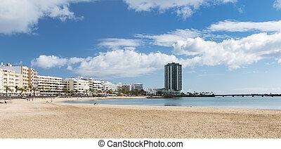 Lanzarote Beach in Arrecife, Spain - Playa del Reducto in...