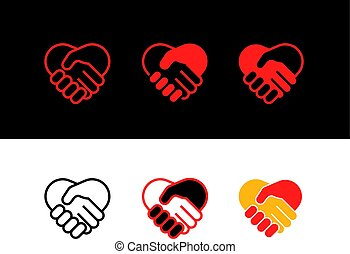 Shaking hands vector icons collection
