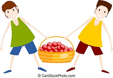 Two boys with a basket of red apples. Harvesting. Vector illustration