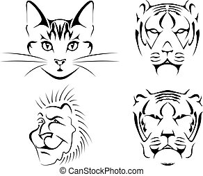 Set of black images of cats on a white background. cat,...