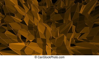 Dark orange low poly waving surface as surreal landscape. Dark orange polygonal geometric vibrating environment or pulsating background in cartoon low poly popular modern stylish 3D design.