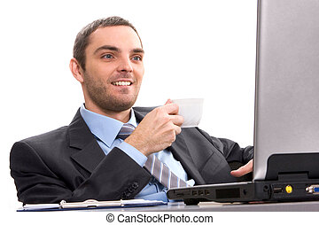 Attention - Portrait of smart businessman looking at laptop...