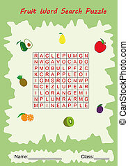 fruit word search puzzle for kids, Leisure activity