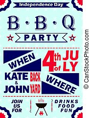Vector Independence Day barbecue party invitation. BBQ invitation card template design. 4th of July picnic party flyer.