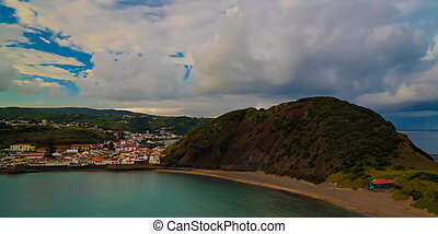 Sunset view to Horta, Porto Pim Bay and beach from mount...