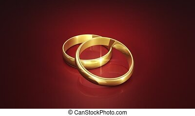 Wedding Rings. 3D animation - Wedding rings on a dark...