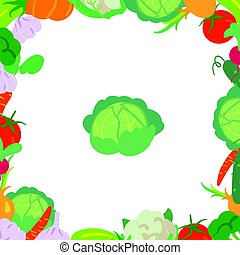 A frame consisting of different kinds of vegetables with cabbage in the center