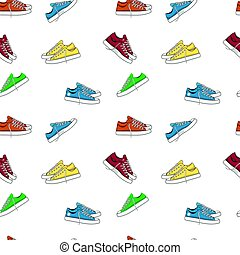 Fashionable woman s shoes snickers. Seamless pattern.